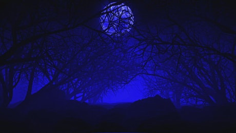 Dark dry tree forest in 3D under a big moon