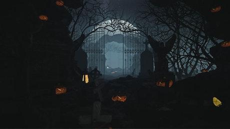 Dark graveyard during halloween, pan shot