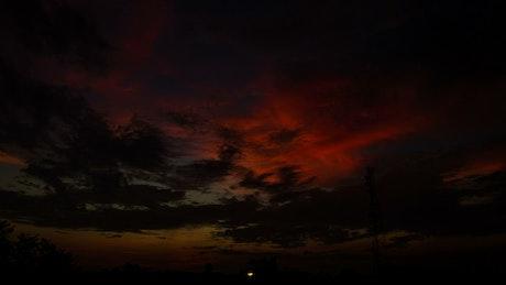 Dark red sky in the morning