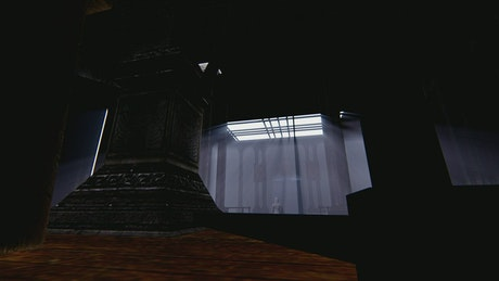 Dark religious temple with a woman and a man in 3D