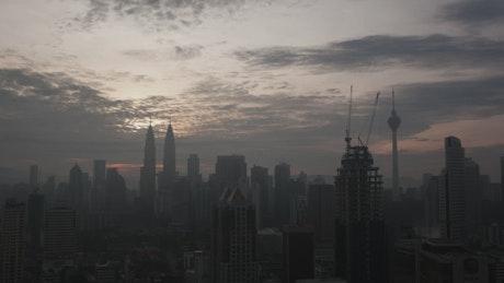 Dark skyline of Kuala Lumpur