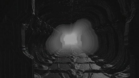 Dark tunnel underground, loop video
