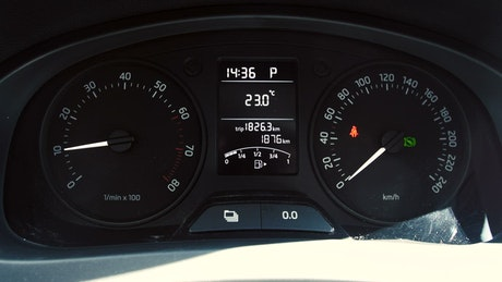 Dashboard while revving an engine