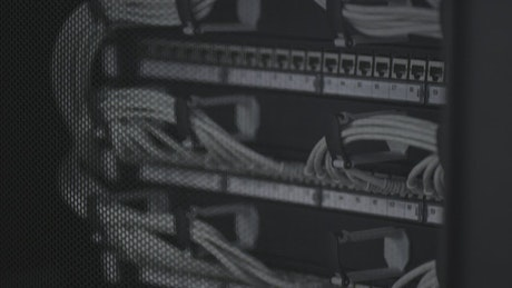 Data cables in a server room