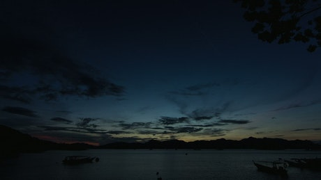 Dawn breaking over the islands