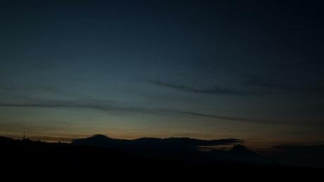 Dawn light over an island