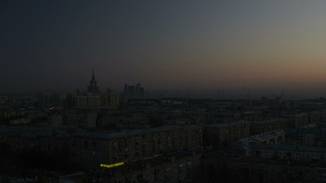 Dawn rising above the city