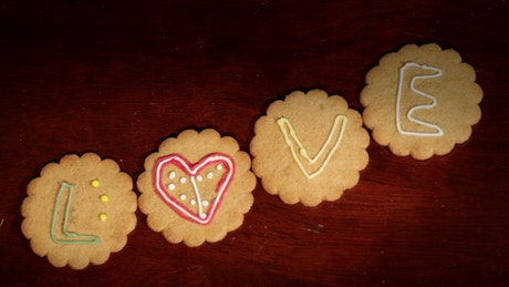 Decorating cookies with letters