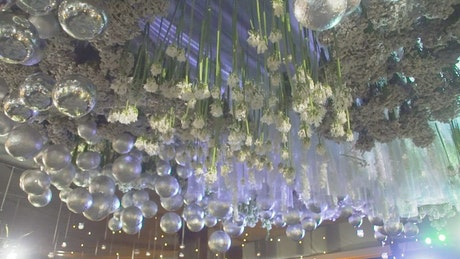 Decorations on the ceiling of a wedding party