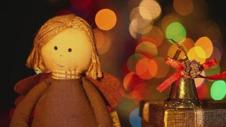 Decorative rag doll at Christmas time