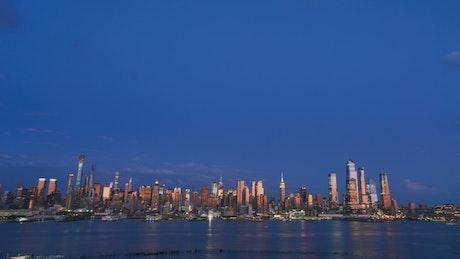 Deep blue skies above New York