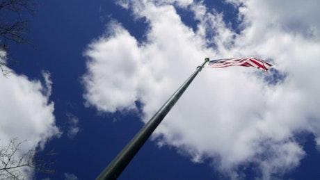 Deep blue sky above the American flag
