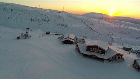 Deep snow covering a resort