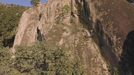 Descending a mountain seen from the air
