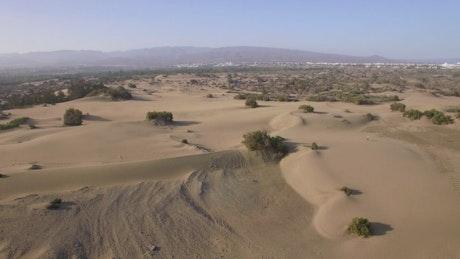 Desert landscape around a town