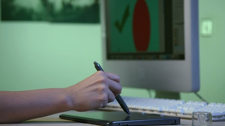 Designer using a graphics tablet