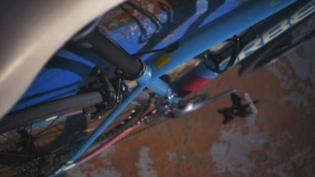 Detail look at a blue bicycle