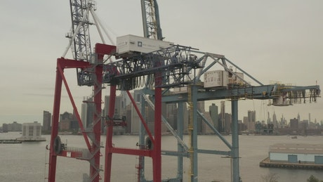 Detail view of a container loading crane in a port