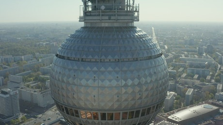 Detailed aerial shot of the Alexanderplatz tower