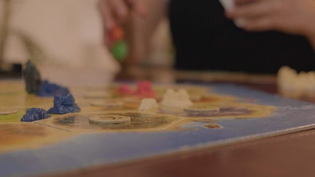 Detailed shot of a board in a game of Catan
