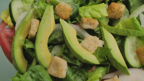 Detailed view of a healthy salad