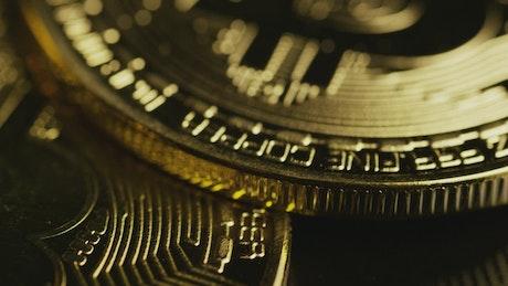 Details of golden bitcoin coins