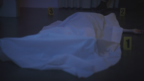 Detective woman checking a body at a crime scene