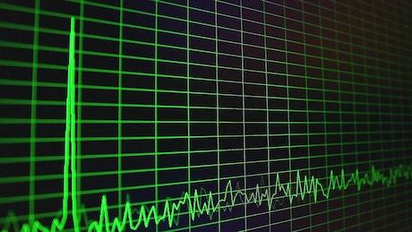 Digital oscillogram on the screen