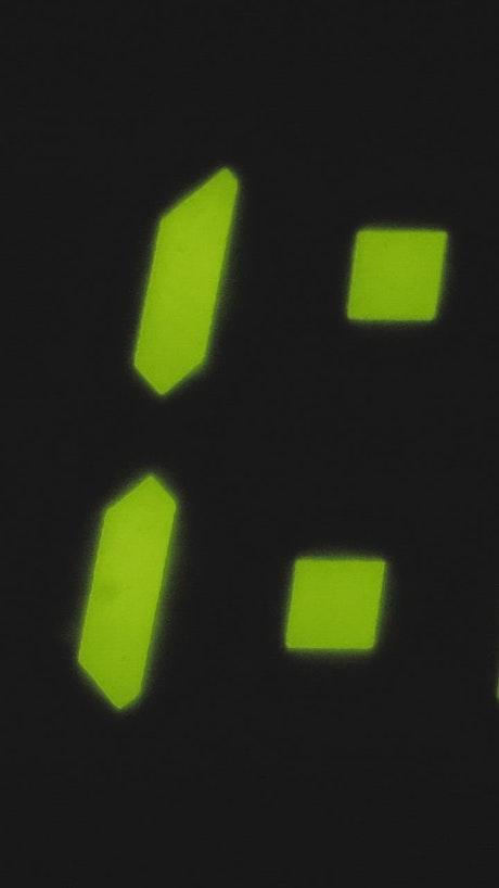 Digital stopwatch seen in detail