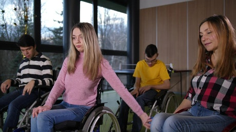Disabled woman winning a game
