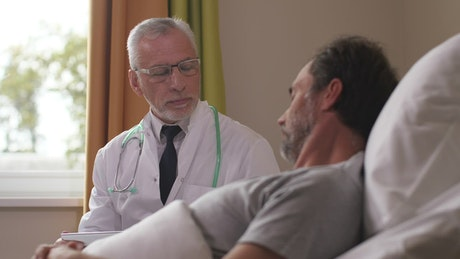 Doctor showing an MRI scan