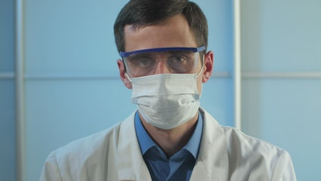 Doctor with face shields, portrait