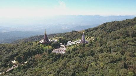 Doi Inthanon temple, aerial shot