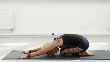 Doing Yoga in an empty room