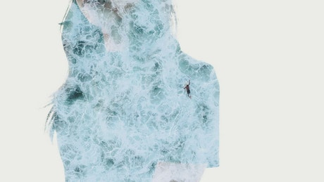 Double exposure video of a woman and surfers