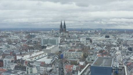 Down shot in a German city, aerial skyline view