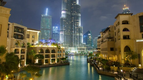 Downtown Dubai lake with fontaine at night