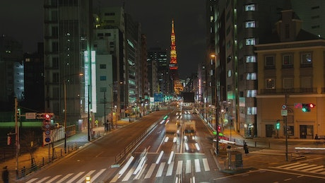Downtown street in Tokyo time lapse