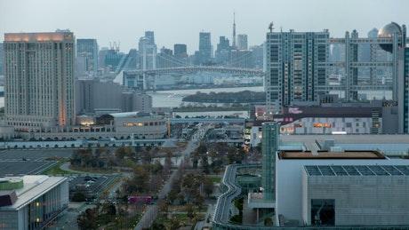 Downtown Tokyo cityscape time lapse