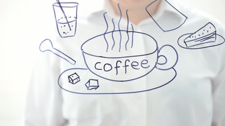 Drawing of products of a coffee shop in a glass