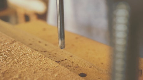 Drilling holes into wood
