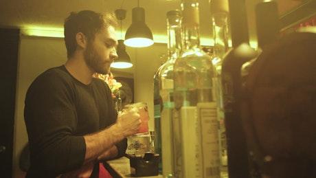 Drinking at a bar counter