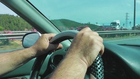 Driver's hands on the steering wheel