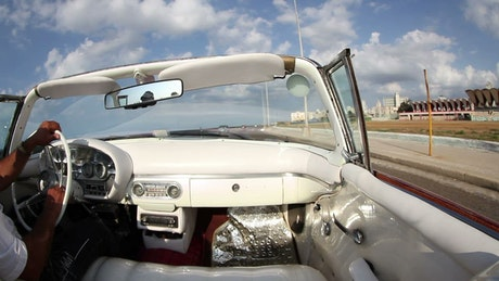 Driving a classic convertible car