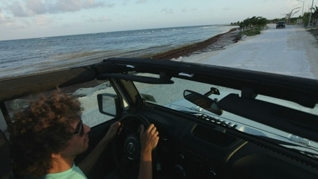 Driving in a beach town near the seashore