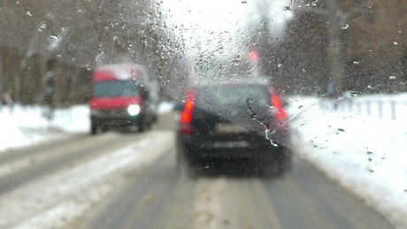 Driving on a cold morning