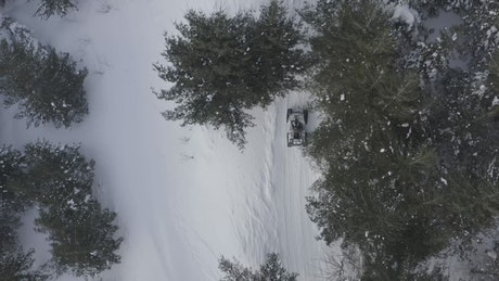 Driving over fresh snow