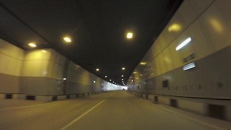 Driving through a long tunnel