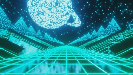 Driving through futuristic neon 3d space landscape