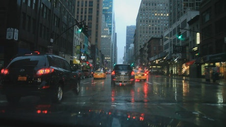 Driving through the streets of New York
